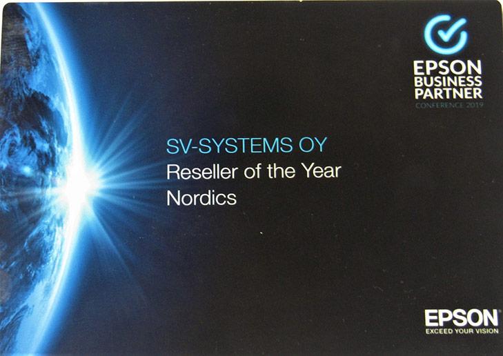 SV-Systems - Pohjoismaiden paras Epson myyjä 2019